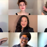 Screenshots of nine members of Voices Lesbian A Cappella