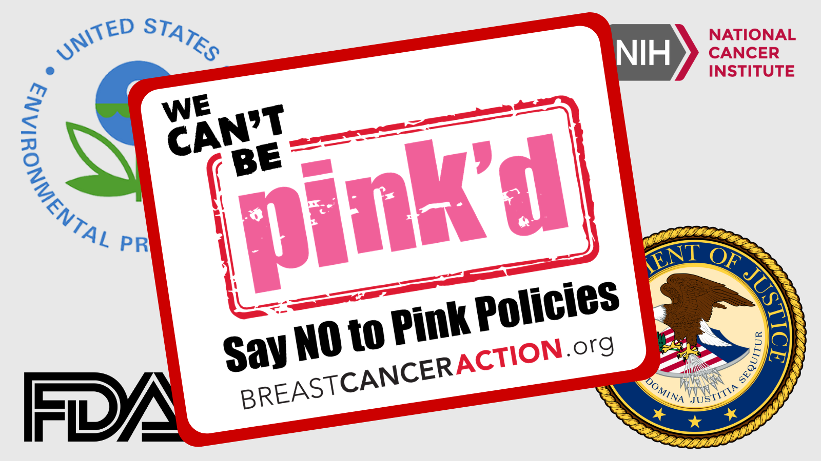 The Think Before You Pink campaign image with the logos of the EPA, FDA, NCI, and DOJ