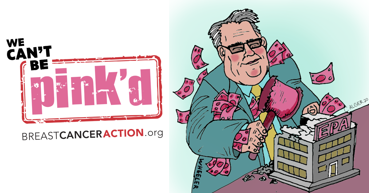 We Can't Be Pink'd Logo and Cartoon of Andrew Wheeler smashing the EPA building.