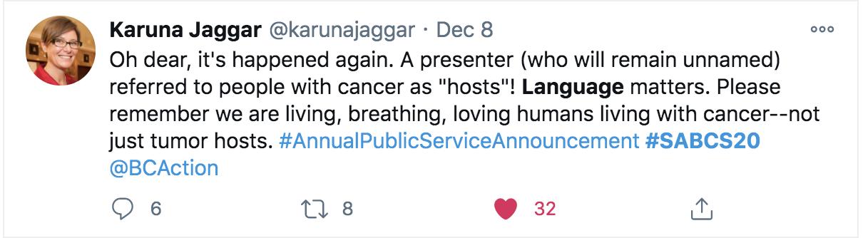 Screen shot of Karuna Jaggar's tweet.