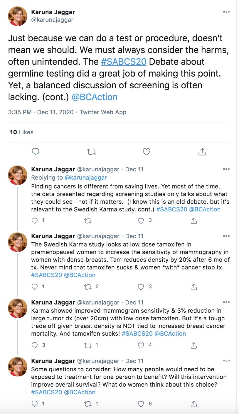 Karuna Jaggar tweet about tamoxifen