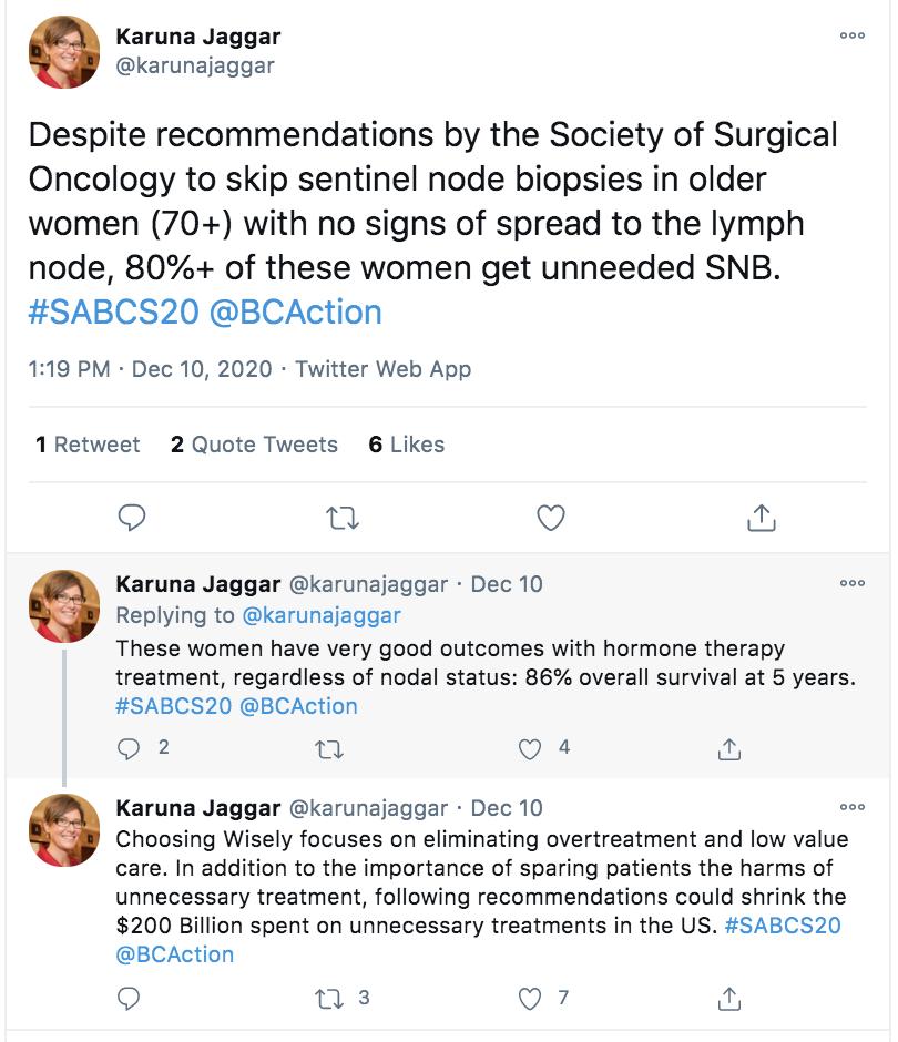 A screen shot of a twitter thread by Karuna Jaggar
