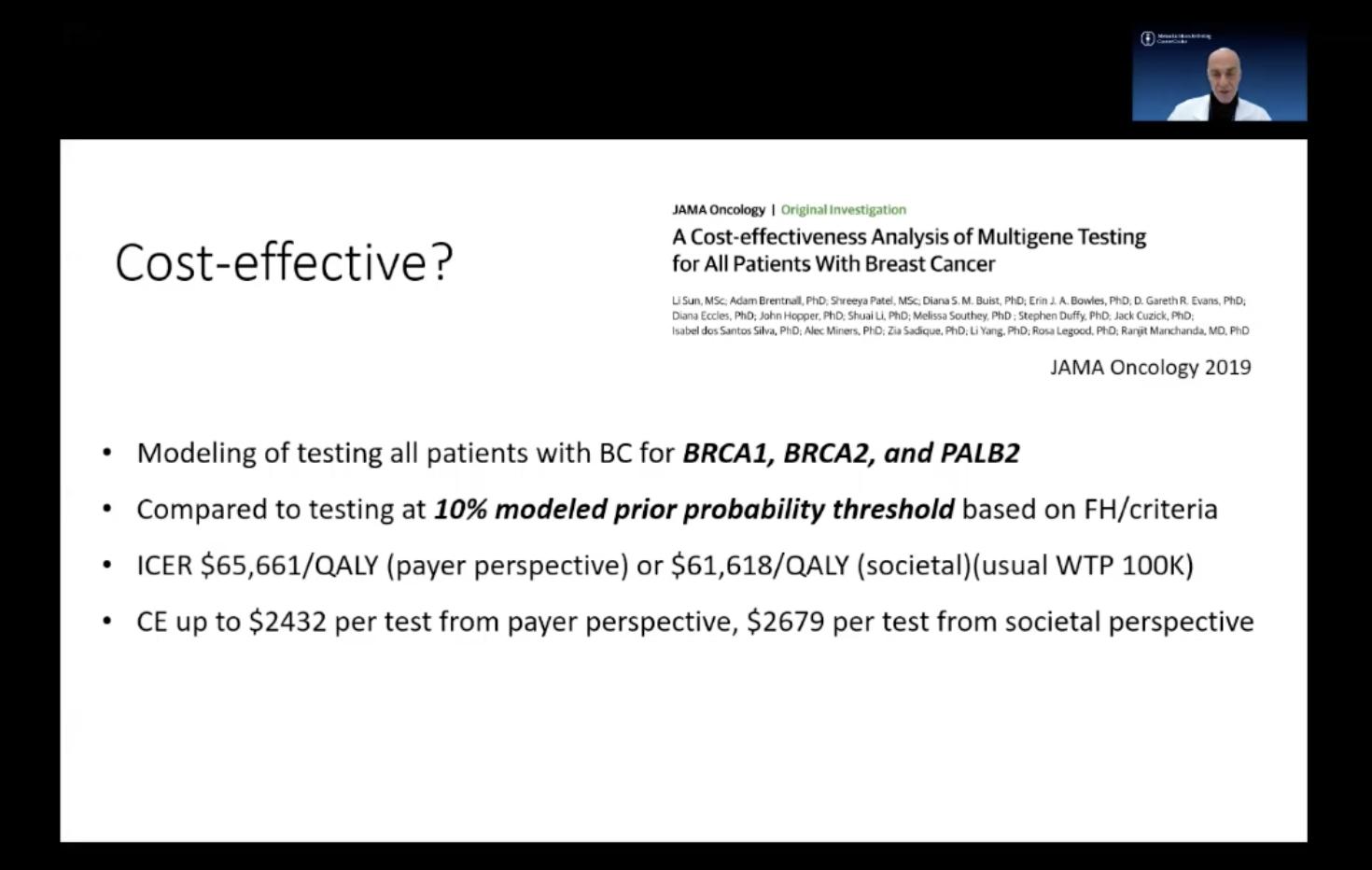 Screen shot of a presentation at SABCS
