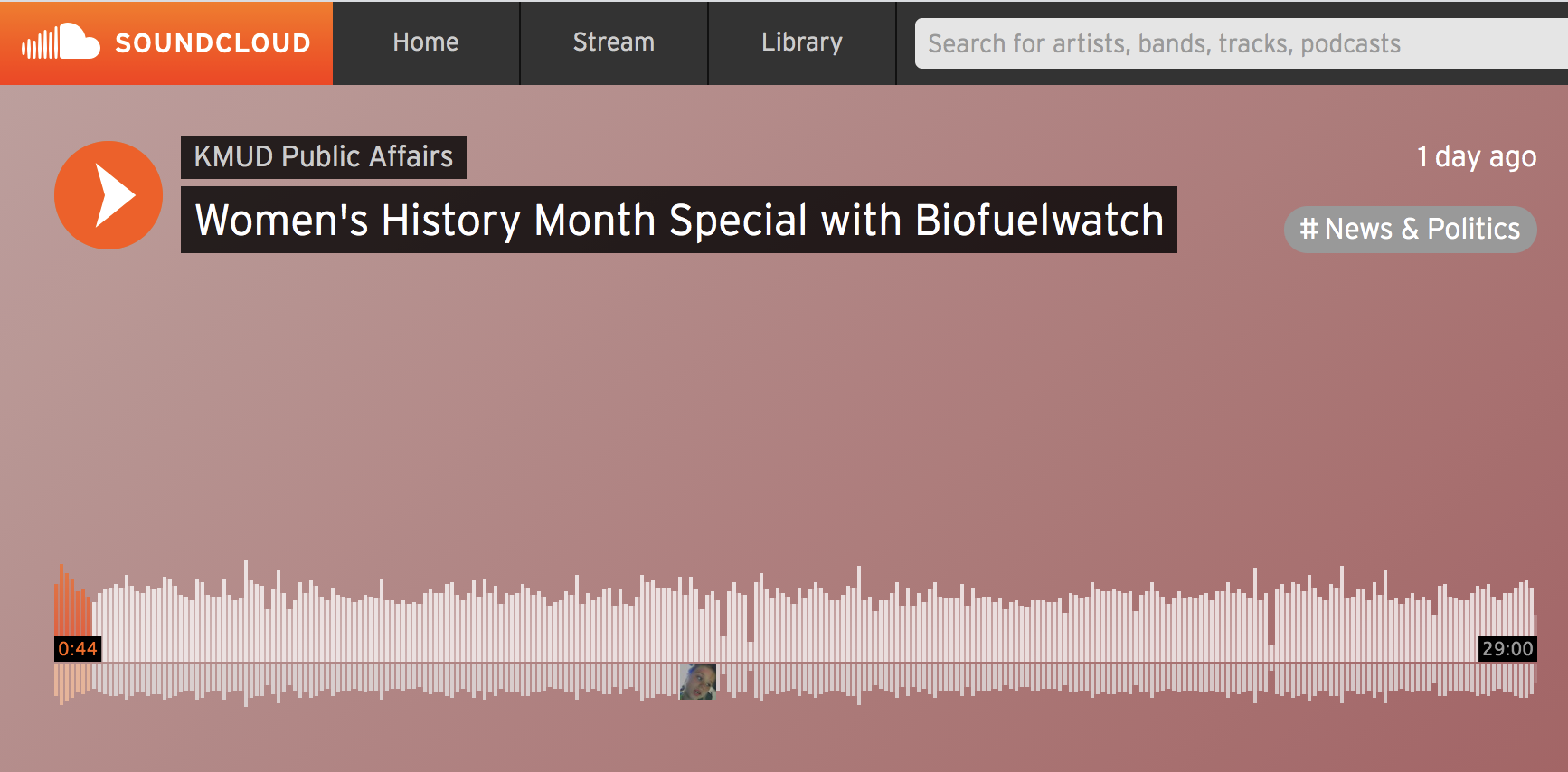 SoundCloud player of BCAction's KMUD interview