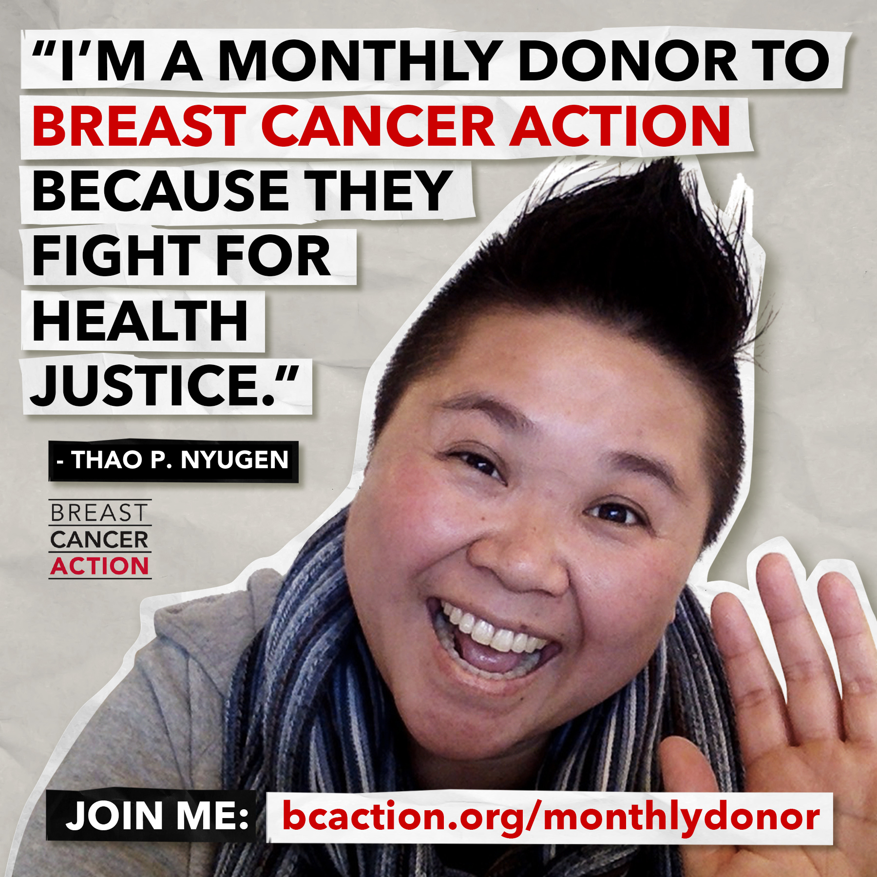 Thao P Nyguen photo and quote about monthly giving.
